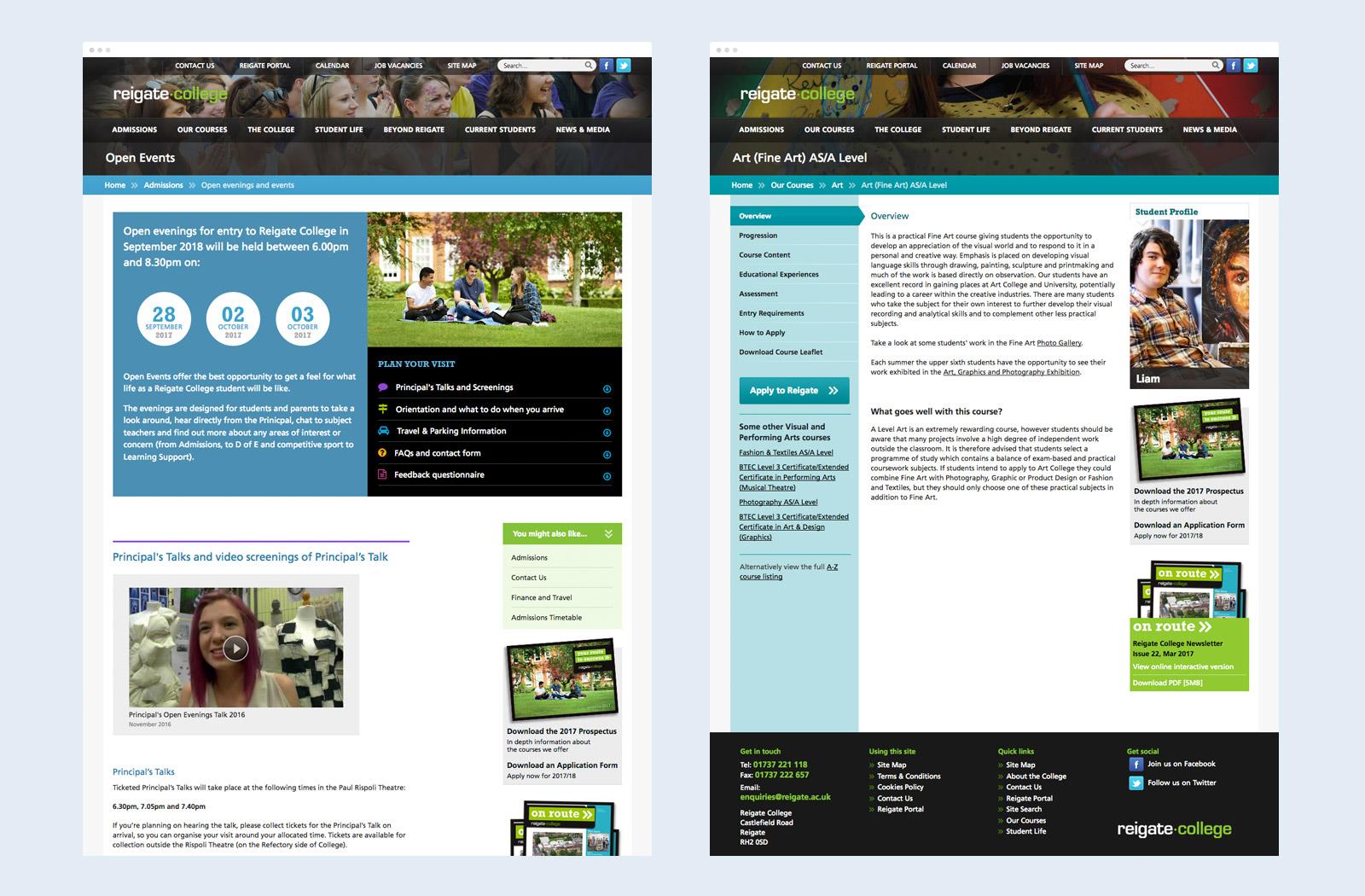 Reigate College website