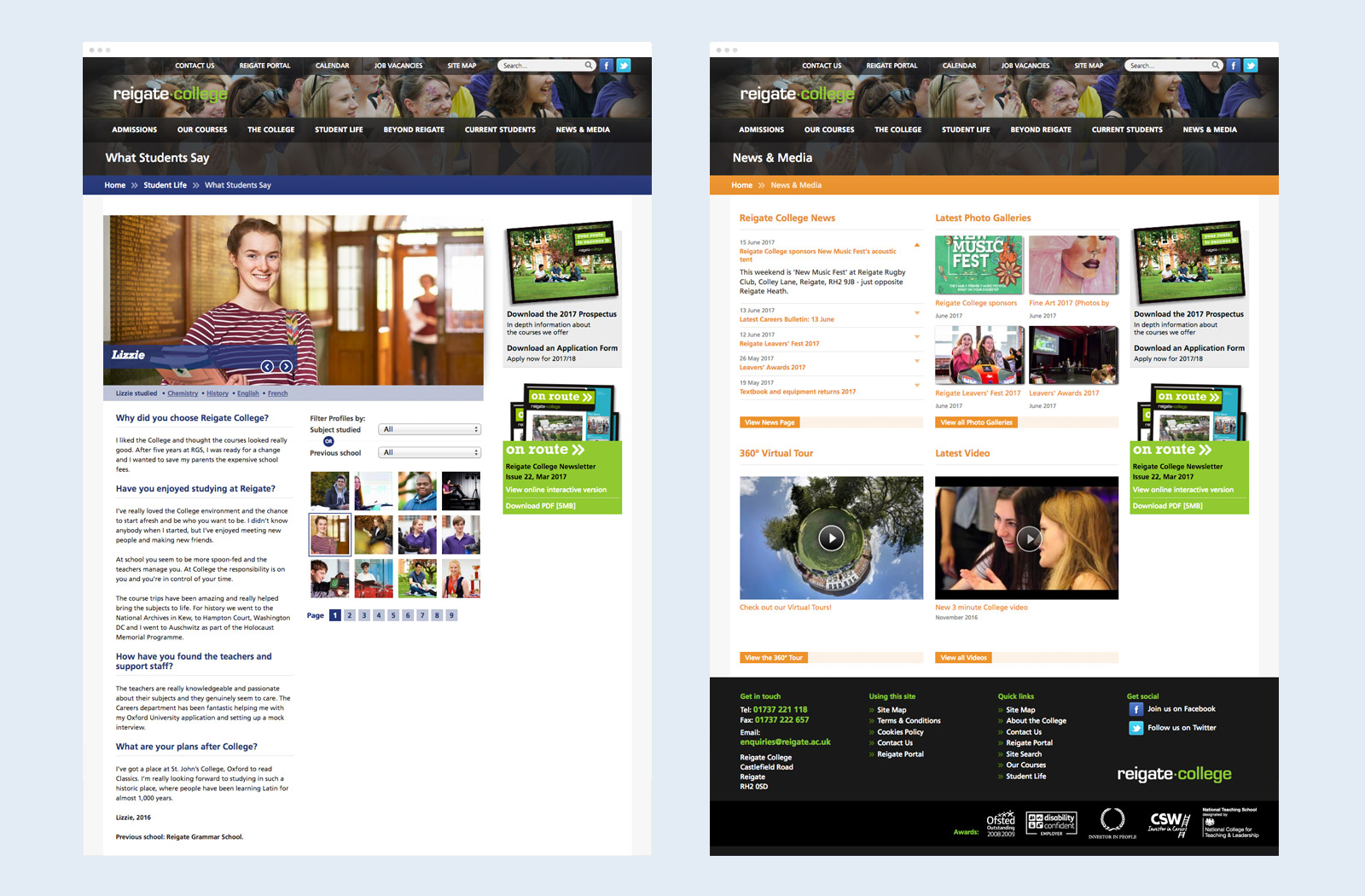 Reigate College website