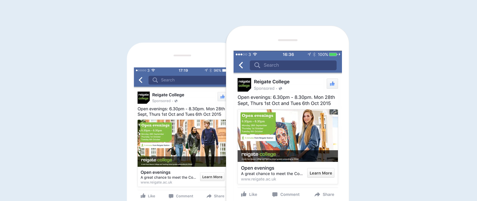 Reigate College Facebook adverts
